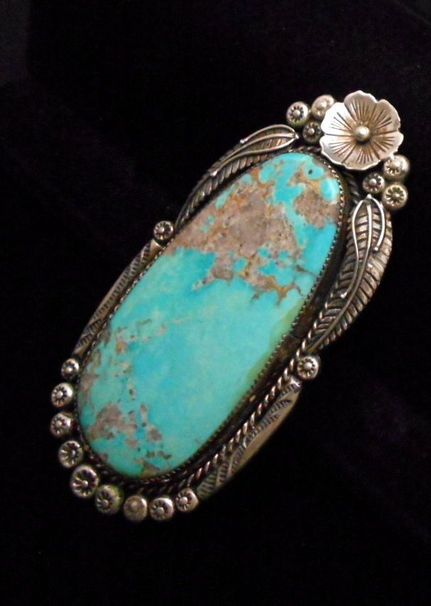 Vintage Navajo Silver and Turquoise Ring STERLING Size 11- 11 1/2 HUGE  *G111