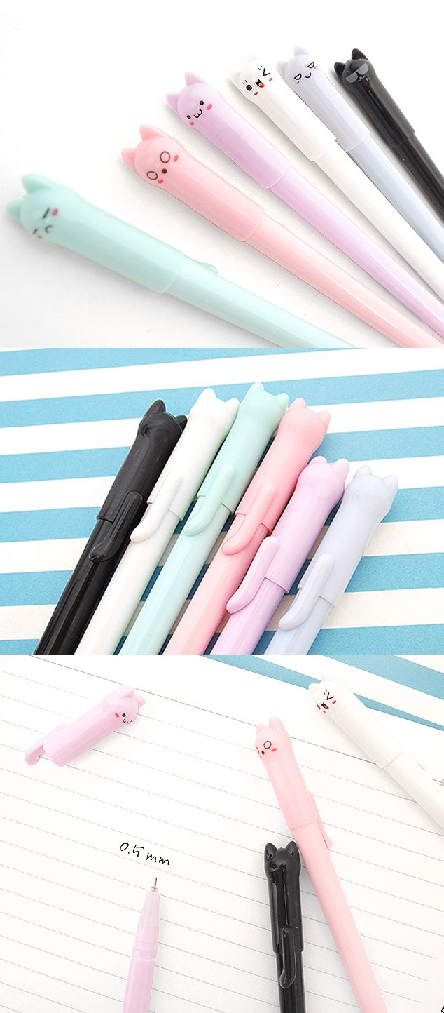 Meow~ The Lovely kitty Gel Pen is adorned with pastel kittens that will make writing, journaling, and planning extra fun (and cute)! With 0.5mm black ink and a slim design, these are a must have. Check it out and add it to your stationery collection today!