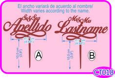 Cake topper Sr y Sra Apellido. Puedes personalizar el apellido/You can customize the lastname.  -Pedidos/Inquiries to: crearcjs@gmail.com