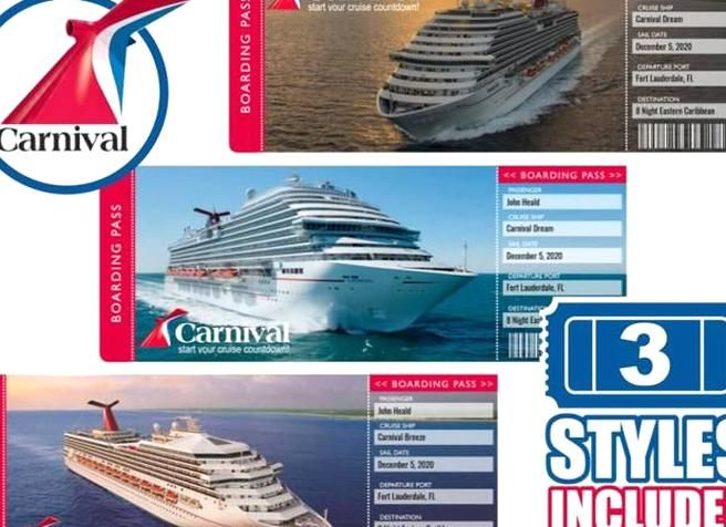 Printable Cruise Ticket Carnival Boarding Pass 3 Template Designs Cruise On In 2020 Cruise Tickets Carnival Cruise Cruise