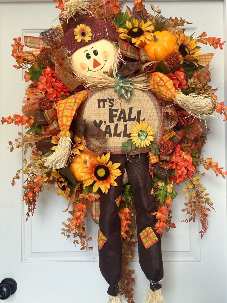 Scarecrow Fall Harvest Mesh Burlap Wreath by WilliamsFloral on Etsy https://www.etsy.com/listing/245059828/scarecrow-fall-harvest-mesh-burlap