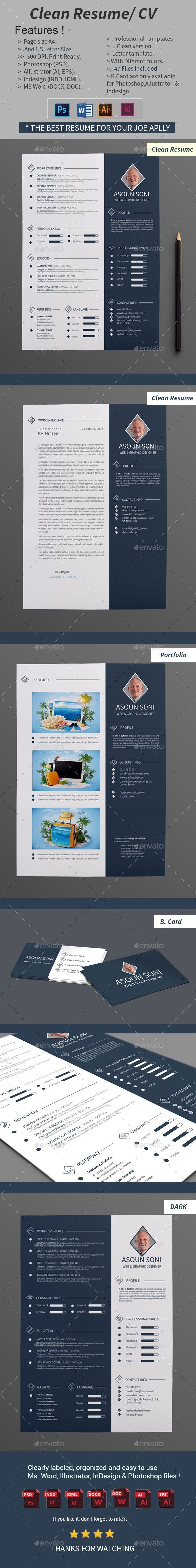 Cv Templates Microsoft Word 2010%0A Clean Resume   CV Template PSD  InDesign INDD  AI  MS Word