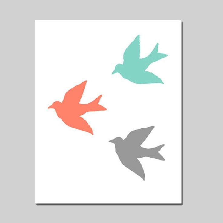 SALE Birds in Flight 8x10 Bird Silhouette Print by TessylaPrints