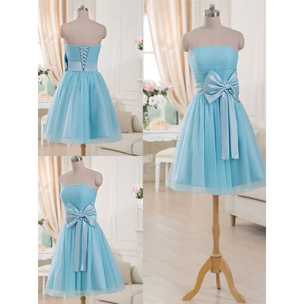 Gorgeous Strapless Short Bridesmaid Dresses, Light Blue Bridesmaid Gown with a Feminine Bow, Mini Bridesmaid Dress with Ruching Detail, #01012516 · VanessaWu · Online Store Powered by Storenvy