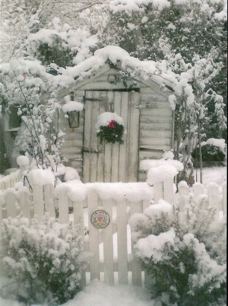 Love the gate and the shed with a wreath on its door, all of it looking like a winter wonderland!