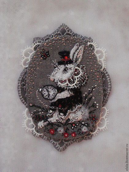 Броши ручной работы. Ярмарка Мастеров - ручная работа. Купить Брошь Белый кролик. Handmade. Чёрно-белый, фетр