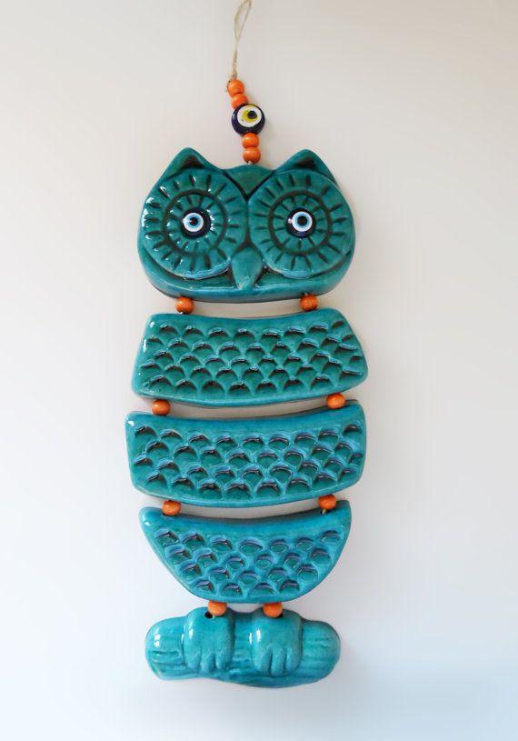 CERAMIC OWL...Home wall hanging gift, Five set owl design, Handmade unique owl design,Turqouise