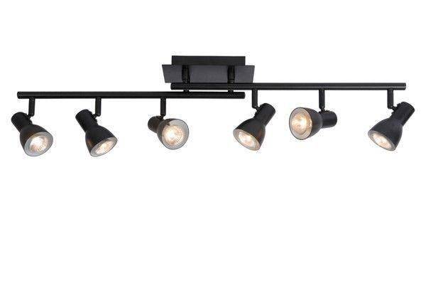 6 spots sur rail Métal noir Plafonnier Lampe à suspension Lustre Luminaire 50561