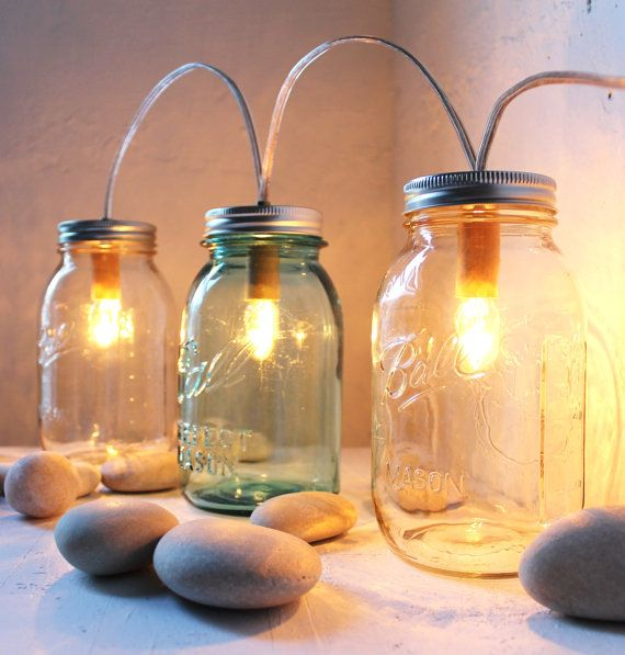 Mason Jar Lights: Clear Glass, Lamps Design, Banners Lights, Winter Cabin, Idea, Cabin Lights, Lights Fixtures, Bootsngus Lamps, Mason Jars Lights