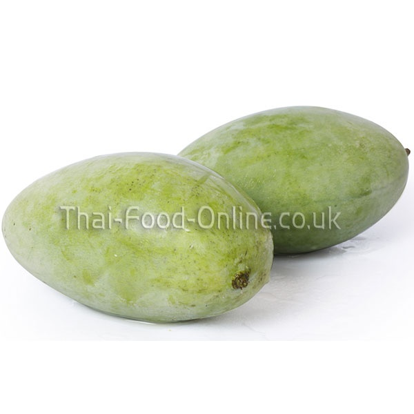 Thai Mango (sour green)    http://www.thai-food-online.co.uk/shopping/shopexd.asp?id=434    Thai Name: Mamuang Raad    Mangos are grown all over Thailand, in every region, and because of this they are available all year long, as crops in different areas will ripen at different times due to the local climate. This means they are plentiful and cheap, which makes the extremely popular. Indeed, almost every Thai person will tuck into a Mango as a snack frequently.