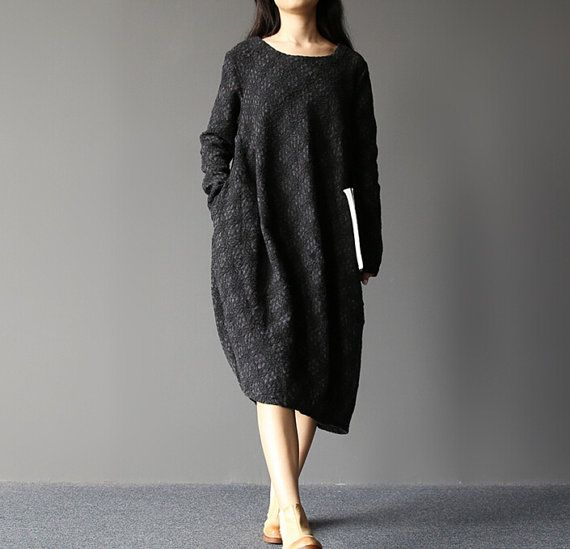 "【Fabric】 Woolen, polyester 【Color】 black 【Size】 Shoulder 40 cm / 16 ""   Bust 110cm / 43 ""   Sleeve 60cm / 23 "" Cuff around 20cm / 8 "" Great arm circumference 42cm / 16.3 "" ... #asymmetric"