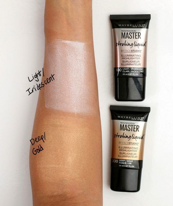 Two of the three new Maybelline Master Strobing Liquids in Light/Iridescent and Deep/Gold  Maybelline's new $10 liquid highlighter is some seriously hardcore disco frost! — and it isn't for the faint