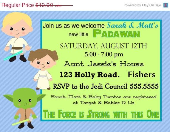 ON SALE Digital Star Wars Baby Shower Invitation Printable ...