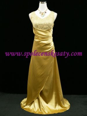 Zlaté žluté společenské plesové svatební šaty s flitrovaným topem vel. M L 42 44 46  č. 2001