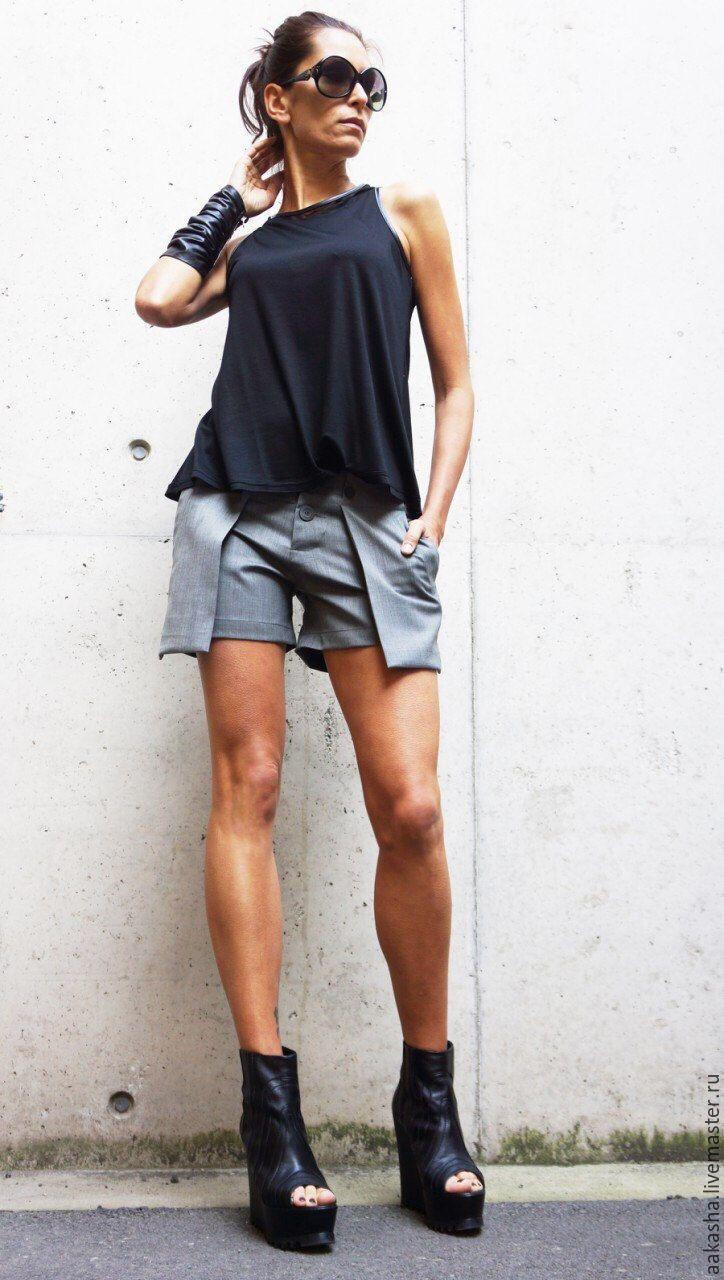 Shorts with put-on pockets / Купить Шорты FreyTrendy - серый, серые шорты, шорты, летние шорты, Женские шорты