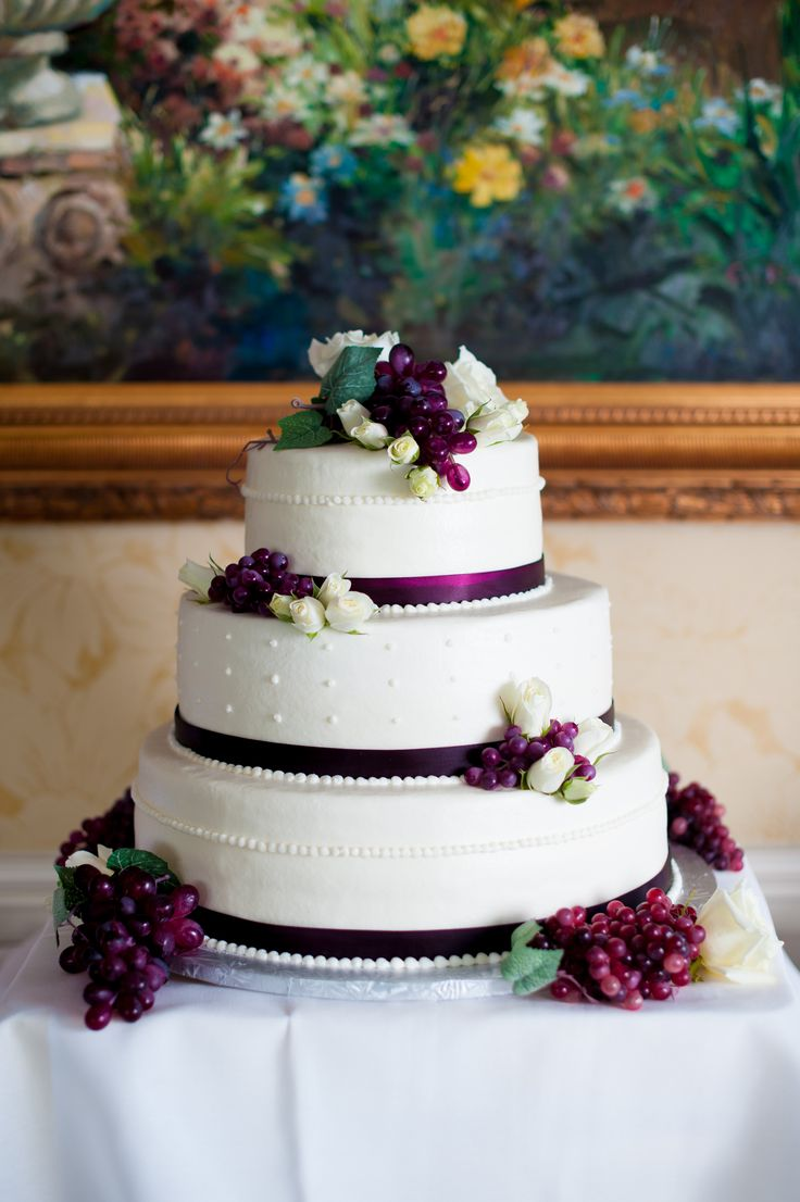 Cake Coordinating With A Wine Themed Wedding