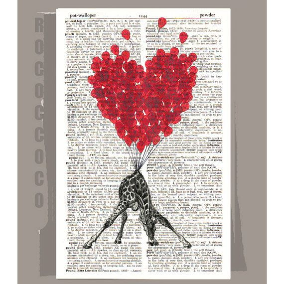 LOVE Carries All - printed on Repurposed Vintage Dictionary page -Upcycled Book Print