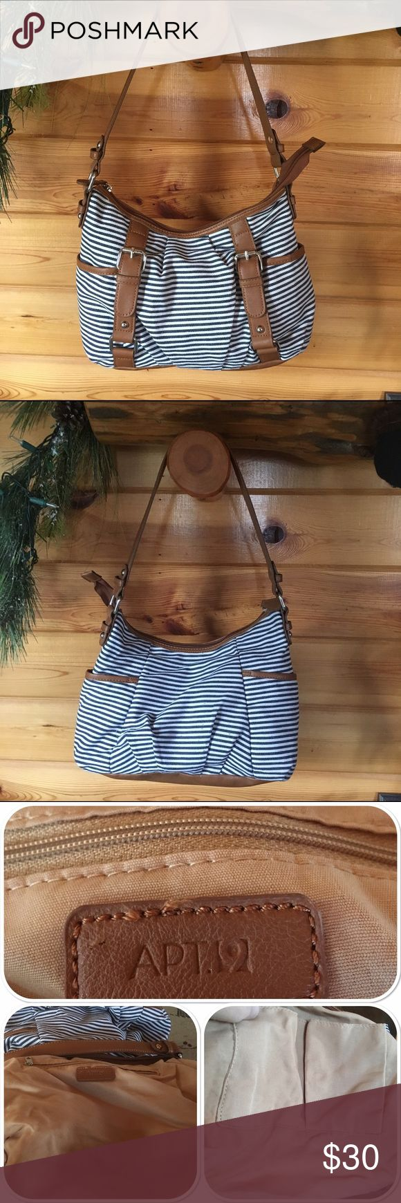 """APT. 9 Denim Stripe Suzie Shoulder Bag APT. 9 Suzie Denim Stripe Shoulder Bag.        EUC Fabric/Vinyl/Nickel Zip top closure, 2 outside compartments, Inside small zip pocket, cellphone and multifunction pockets.  12"""" (L) x 9"""" (H) x 4"""" (D) 10"""" Drop  Denim Blue/White/Brown Apt. 9 Bags Shoulder Bags"""