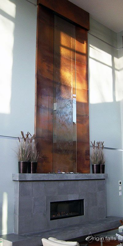 Custom Stainless Steel And Glass Indoor Waterfall For A Home In Kelowna BC  Canada