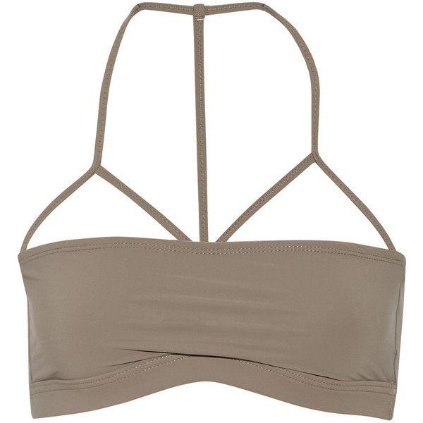 T by Alexander Wang Bandeau bikini top ($45) ❤ liked on Polyvore featuring swimwear, bikinis, bikini tops, tops, bikini, crop top, nude, tankini top, neck ties and swim tops