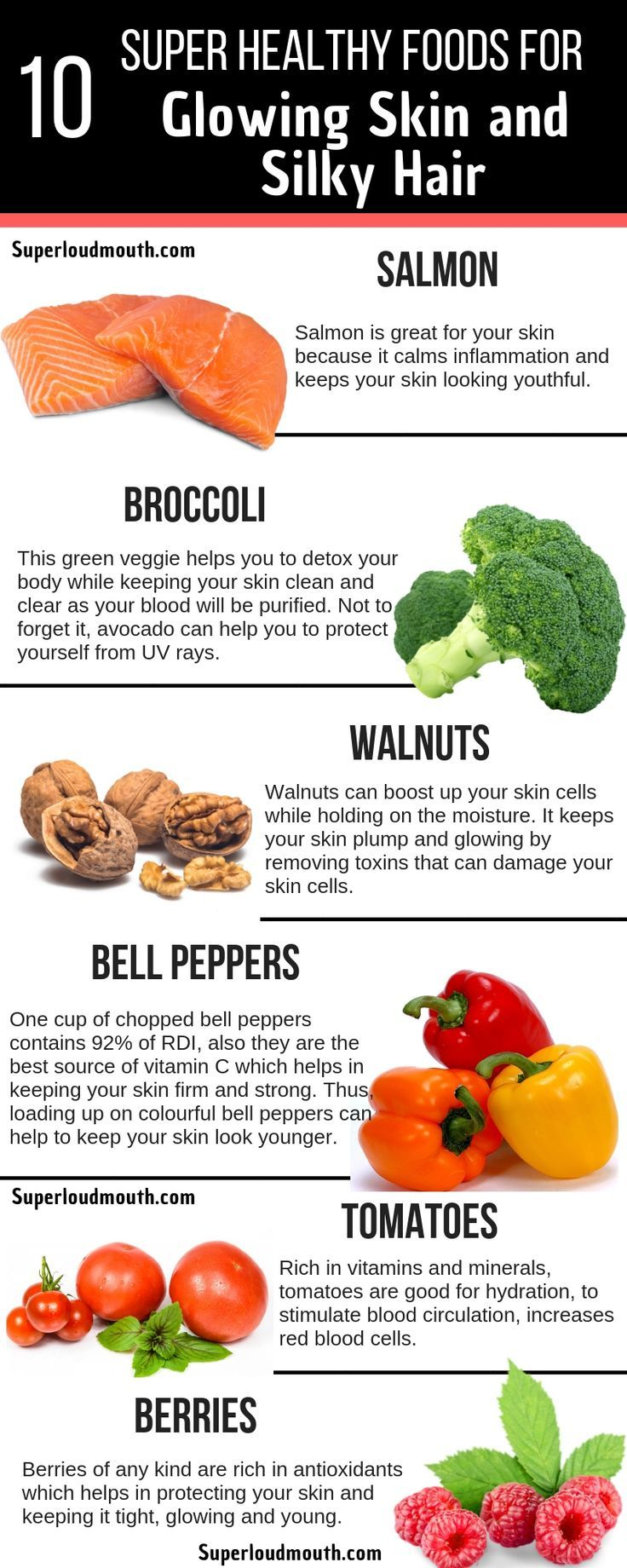 10 Super Healthy Foods To Attain Ravishing Skin And Silky Hair Foods For Healthy Skin Super Healthy Recipes Food For Glowing Skin