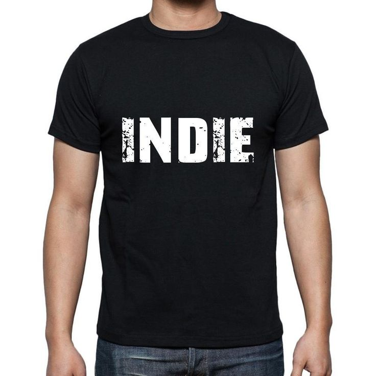 indie Men's Short Sleeve Rounded Neck T-shirt , 5 letters Black , word