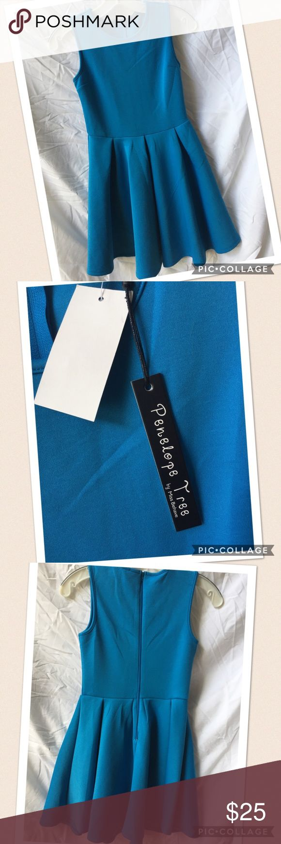 Miss Behave bright blue jersey dress, Size L Penelope Tree by Miss Behave dress in a stretchy jersey fabric.  Zip up back.  Sleeveless.  NWT, size L. Miss Behave Dresses Casual