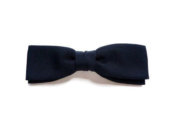Vintage Black Grosgrain Clip-on Bow Tie