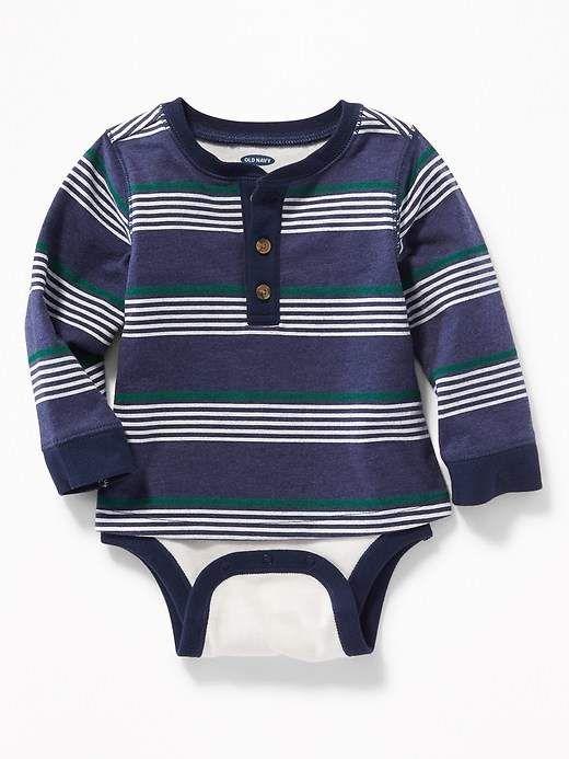 83b461733 Old Navy 2-in-1 Striped Henley Bodysuit for Baby  babyboy