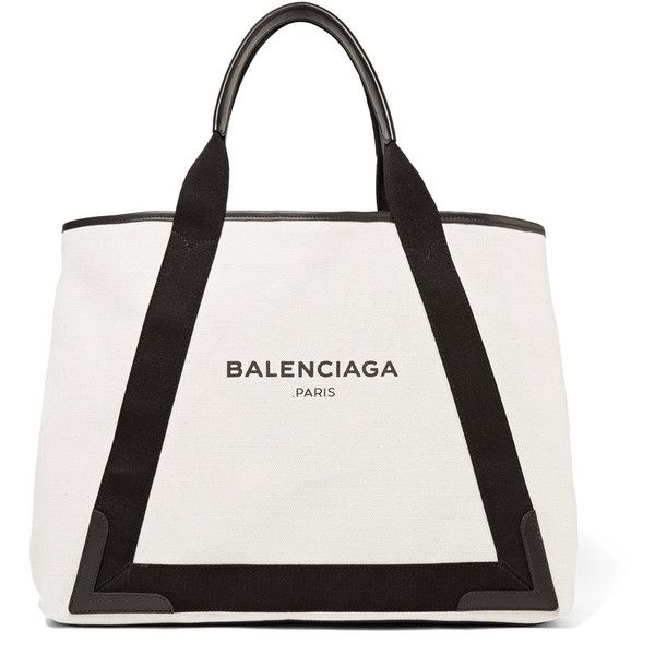 Balenciaga Cabas leather-trimmed canvas tote ($775) ❤ liked on Polyvore featuring bags, handbags, tote bags, canvas tote handbags, white tote purse, canvas purse, canvas tote and white purse