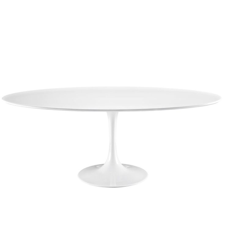 Round or Oval Saarinen Style Tulip Table White Laminate Top with White Base MANY…