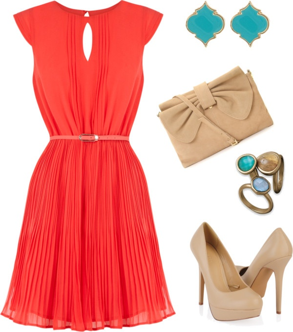 coral, nude, turquoise
