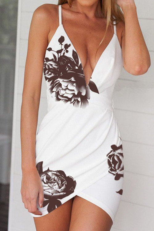 Stylish White Deep V Neck Floral Women's Dress