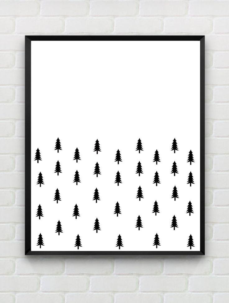 Nordic Printable Art Print, PDF download, Instant Download Art, Scandinavian Print, woodland print, monochrome nursery art, black and white