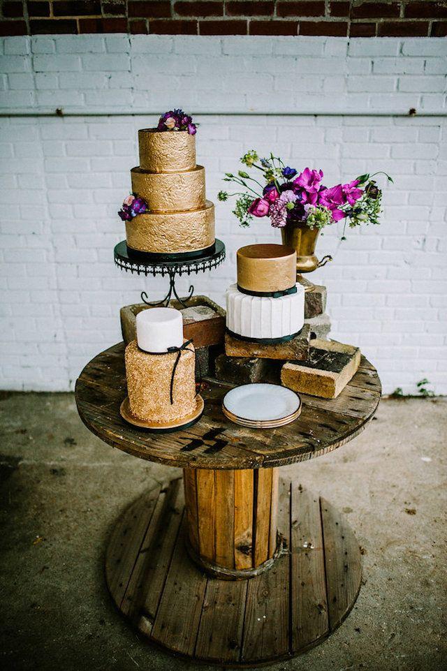 Urban Glam Industrial Wedding   Burnett's Boards - Wedding InspirationAmazing Glitter Wedding Cakes!