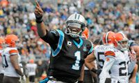 Quarterback Cam Newton helps lead Panthers to critical victory in his first game since car accident.