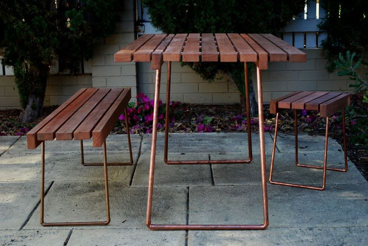 Table Bench Stool. Jarrah outdoor furniture using copper pipes.