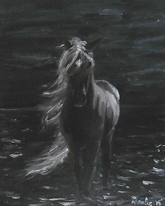 Original oil painting / Black horse night / painted / by Aparticle
