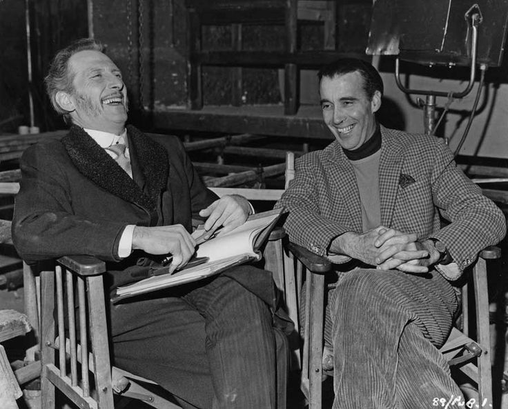Peter Cushing and Christopher Lee on the set of The Gorgon (1964).