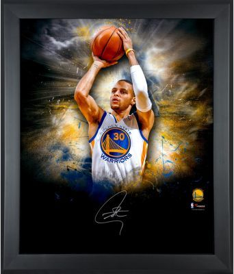 """Stephen Curry Golden State Warriors Framed Autographed 20"""" x 24"""" In Focus Photograph from ManCaveGiant.com"""