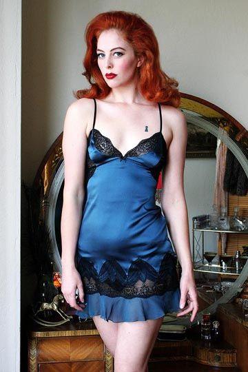 Lisa's Folly Luxe Kaitlyn Night Sky Silk Satin Chemise via Dollhouse Bettie