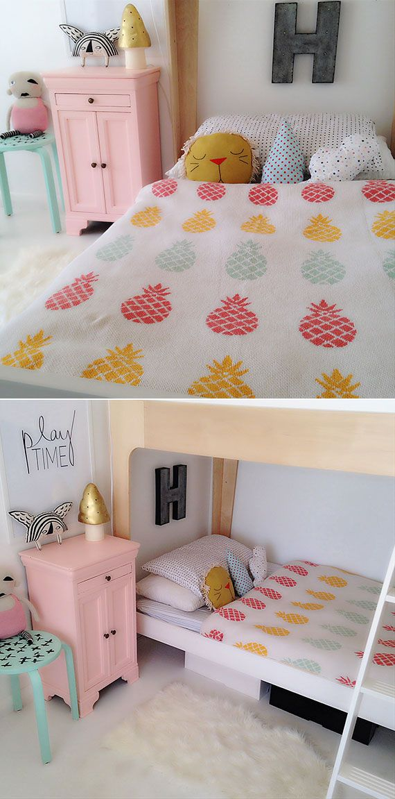 sweet little room with pineapple sheets.