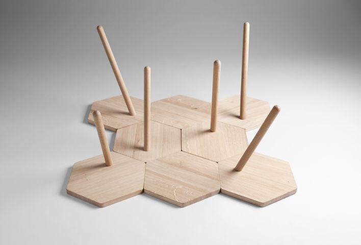 Lean Tables | COORDINATIONDesign Magazines, Dimen Design, Flip Sellin, Lean Tables, Markus Dilger, Lean Oak, Hexagons, Coordinating Berlin, Oak Tables
