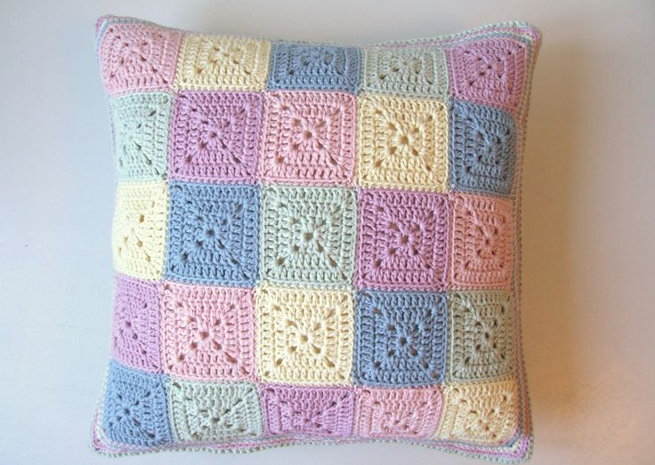 Pastel crochet cushion cover pillow by BabanCat on Etsy. , via Etsy.