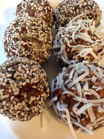 Homemade nut-free bliss balls; whizz up 1 cup dried fruit in your Thermomix or food processor, add 2 teaspoons cacao powder, 2 teaspoons chia seeds & 1 teaspoon maca powder. Roll them into balls & then chia seeds or coconut.