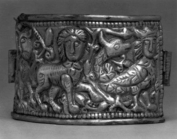 Bracelet with a Lion, a Sphinx, and a Syren, repoussé silver. Byzantine, 12th century