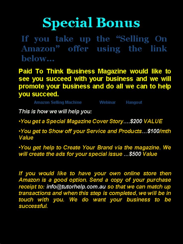 Like to Start a Business Selling on Amazon?  Matt Clark and Jason Katzenback have been selling products successfully for a while and they want to teach you their system so that you can to do the same.  http://auto-pilot-biz.com/amazonweb