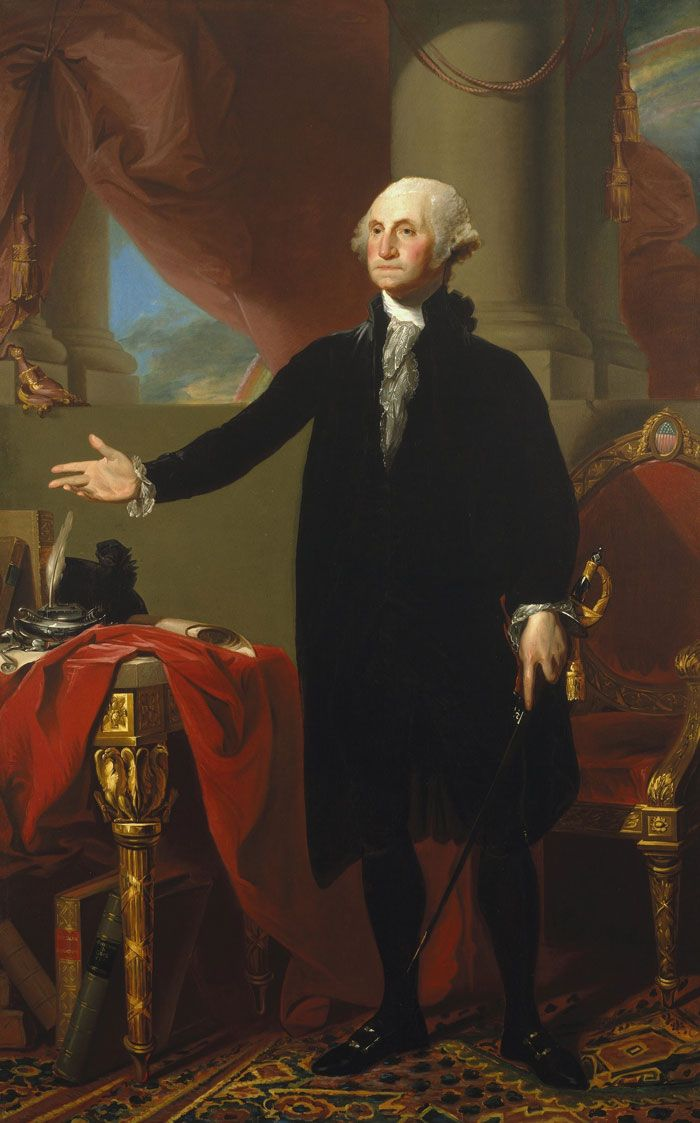 Gilbert Stuart painted this famous portrait of George Washington in 1797. | The First President | Kids Discover