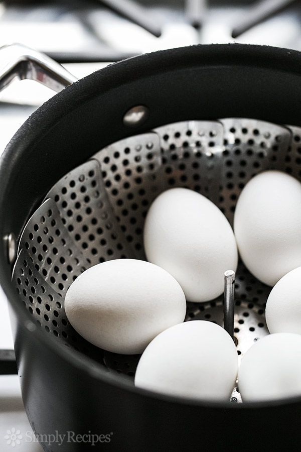 The best way to hard boil eggs? Steam them! Perfect hard cooked eggs that are easy to peel. #recipe #paleo On SimplyRecipes.com