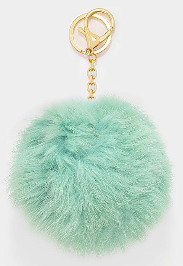 Large Rabbit Fur Pom Pom Keychain, Key Ring Bag Pendant Accessory - Mint